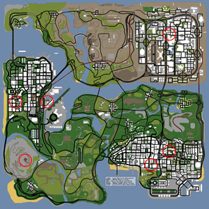 Mapa com os desafios secretos, secret challenges do GTA San Andreas