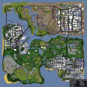 Mapa com informações diversas, namoradas, clubes, carros, GTA San Andreas