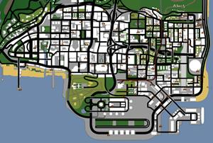 Mapa com as 100 pixações, tags, grafites de Los Santos no jogo GTA San Andreas