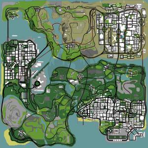 Mapa com todas propriedades, assets para comprar no GTA San Andreas