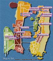 Mapa lojas para roubo - GTA Vice City